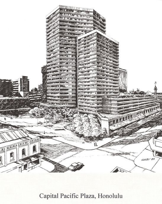 Proposed Capital Pacific Plaza, 1984, Honolulu, Oahu.